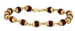 The Jewelbox Rudraksh Beads 22K Gold Plated Brass Bracelet for Men