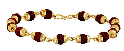 Die Jewelbox Rudraksh Beads 22K vergoldet Messing Armband für Herren (22k Gold Herren Armband)