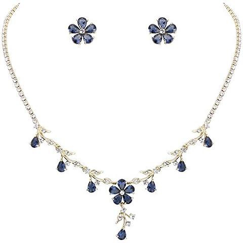 EleQueen Women's Gold-tone Full Cubic Zirconia Flower Teardrop Bridal Necklace Earrings Jewelry Set Sapphire Color