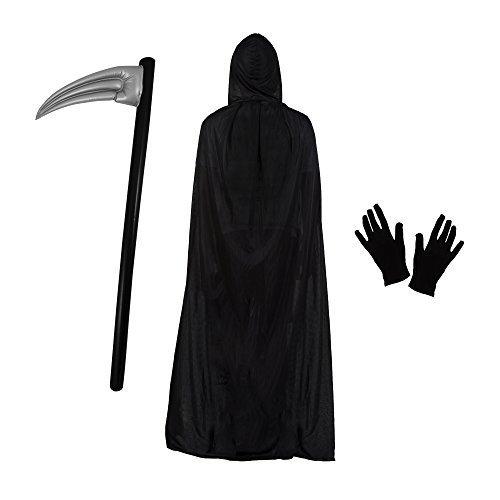 Sensenmann Halloween Kostüm Satz (Polyester Mantel, Sense & Handschuhe)
