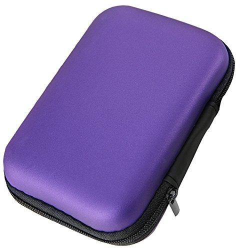 Lucklystar® Hard Case Erschütterungsfeste Schutzbox Festplattentasche Universal Schutzhülle Tasche für Festplatte Kabel und sonstiges Zubehör(Lila) (Externe Festplatte Gehäuse Lila)