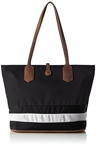 Sansibar Damen Umhängetasche, Mehrfarbig (Black/White/Cognac), 15x28x40 cm