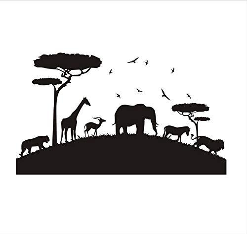 (Wandaufkleber Lion Elephant Tiger Giraffe African Safari Wandaufkleber Kindergarten Dekorative Aufkleber Vinyl Abnehmbare Tier Wandtattoo Home Decor 74X43Cm)
