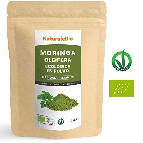 Moringa Oleifera Bio in Polvere - ETICHETTA SPAGNOLA - [ Qualità Premium ] 1kg. 100% Biologica, Naturale e Pura. Foglie Raccolte dalla Pianta di Moringa Oleifera. NaturaleBio