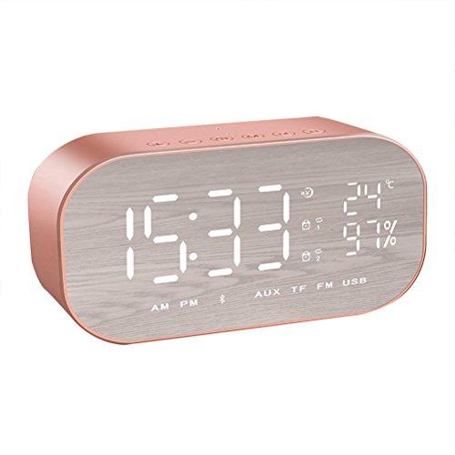 VORCOOL Bluetooth Lautsprecher Wecker Radio Wireless Subwoofer Kreative Große Spiegel Bildschirm Temperaturanzeige Nacht Alarm Box für Schlafzimmer (Rose Gold)