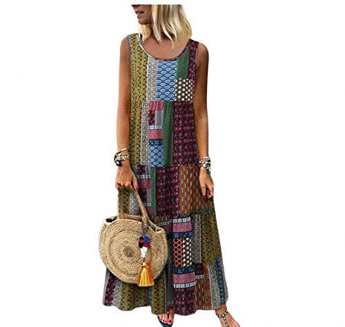 yuhualiyi123 Frauen große Kleid lose Rundhals nationalen Stil drucken