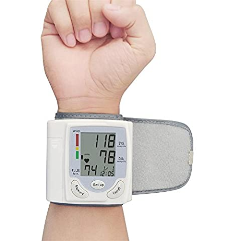 Moniteur de pression artérielle au poignet - Mesure entièrement automatique avec écran LCD numérique et étui portable pour la pression artérielle et le battement