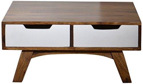 SIT-Möbel 7780–10 Table Basse Sixties, Antique, 80 x 80 x 35 cm, Blanc/Marron