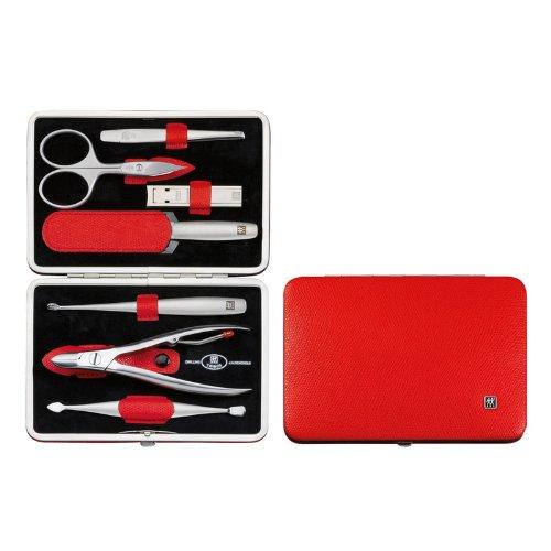 Henckels TWINOX Manicure Set Dauphine Red- Z Comp. 7 pezzi- Combs- Nail Cleaner Tweezers- NN- File- Di- I