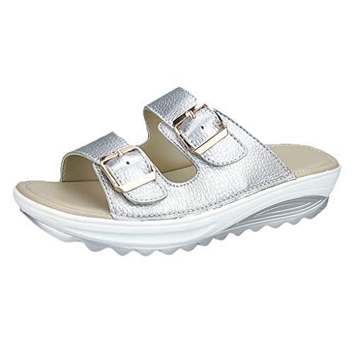 LILIGOD Weibliche Keile Hausschuhe Sandalen Damen Große Lässige Sandalen Dicken Boden Rutschfeste Strand Sandalen Frauen Peep Toe Plattform Weiche Schuhe