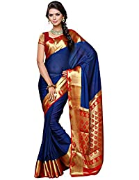 Mimosa Women's Crepe Saree With Blouse Piece (2112-Nvy-Rd,Navy Blue,Free Size)