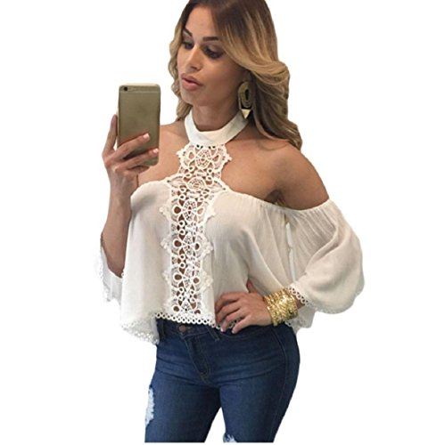 Culater® Las mujeres atractivas del hombro de manga larga Camiseta floja ocasional remata la blusa (S,