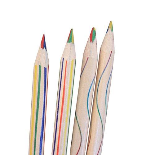 4in 1Buntstifte, fat. chot Regenbogen gestreift Malerei Bleistifte Schule Saison Fun Zeichnen...