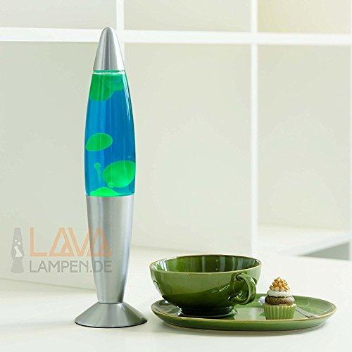 """Dekorative Lavalampe \""""Timmy\"""", Flüssigkeit blau, Wachs grün 30cm hoch / Lavaleuchte fürs Schlafzimmer Wohnzimmer"""
