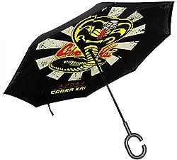 Karate Kid Cobra Kai Retro japanischer Doppelschicht-umgekehrter Regenschirm für das Auto, das umgedrehte C-förmige Hände umklappt