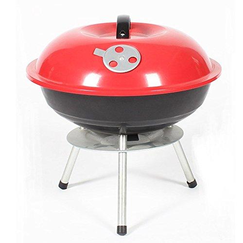 Nclon Portable Picknickgrill Mini-wasserkocher grill,Rauchfreier Bbq Barbecue Mini Runde Outdoor Camping Picknick Garten Beach 3-5 Volk-Rot 35.5*37cm -