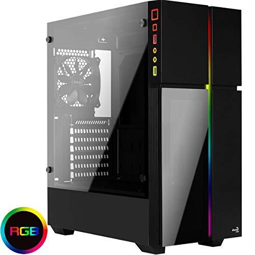 Aerocool Playa - Caja de PC, ATX, Panel acrílico, RGB 13 Modos, Ventilador 12cm