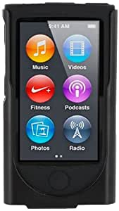 rooCASE Apple iPod Nano 7 (7th Generation) Hybrid Silicone Case with Detachable Holster Clip - Black