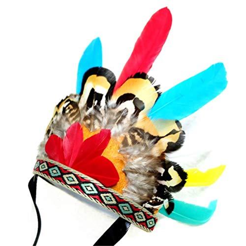POPETPOP Indischer Feder Stirnband für Hunde Katze Haustier -