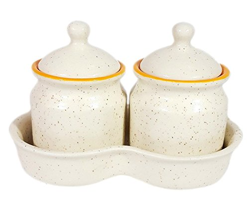 CROCKTO White Ceramic Handmade Pickle Jar Set of 2 with Lid, Pickels/Chutney / Achar Container
