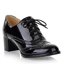 e87765fe5a3 ODEMA Chaussures Richelieu Classiques pour Femmes à Lacets Wingtip Bottines  Chunky à ...