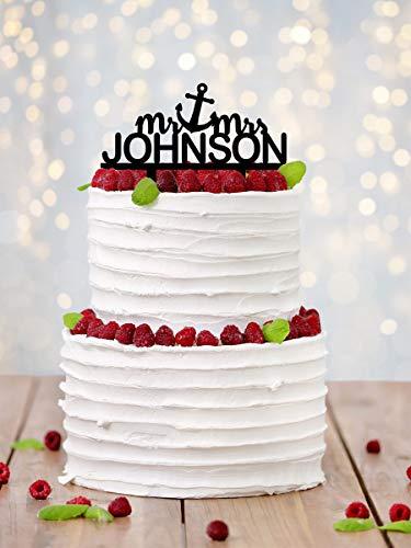 ekoration Anker Name Party Hochzeit Kuchen Toppers Mr Mrs Bride and Groom Silhouette Hochzeit Dekoration Geschenke ()