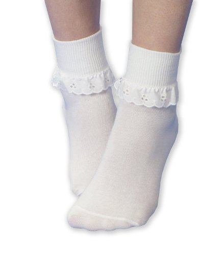6-Pairs-of-Girls-White-Fancy-lace-Cotton-ankle-socks-All-sizes