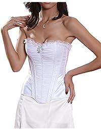 E-Girl Chic Lace Edge sans bretelles Bustiers et corsets,blanc