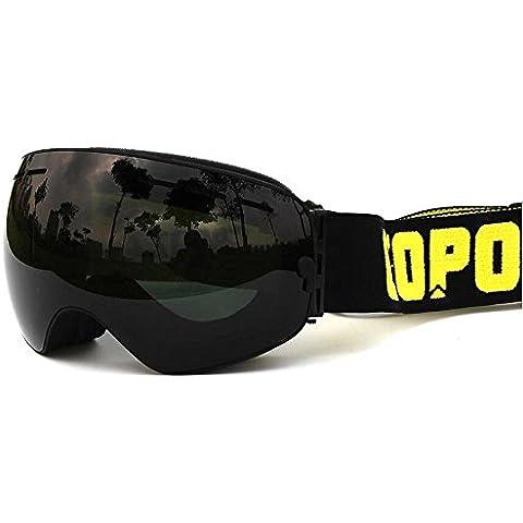 Doppia lente anti-fog Occhiali da sci professionale UV400 impermeabile antivento unisex Grande sferica Neve Eyewear, Intero nero