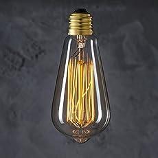Quace Antique Vintage Edison Bulb - 40 watt - ST58 - Squirrel Cage Filament - 230 Lumens - Dimmable - E27 Bulb Base – Filament Light Bulbs(Amber)