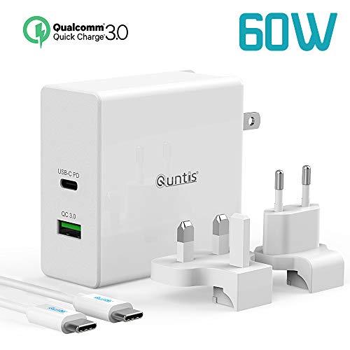 Quntis Cargador PD USB C 60W Puerto Súper Rápido Adaptador de Viaje  Universal QC 3 0 Charger [Cable c a c 1,5m] Enchufe EU UK US para Macbook  Pro,