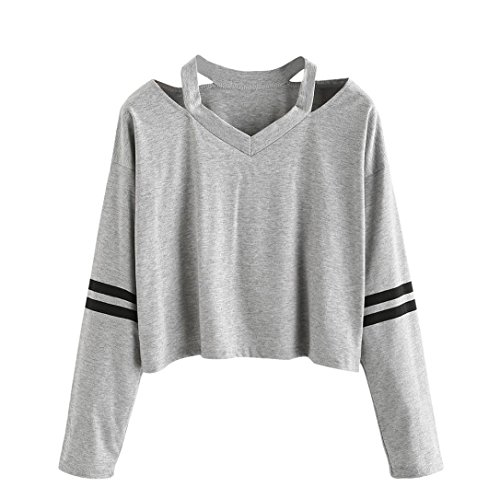 Stylische Kurze Damen Pullover CLOOM Rose Stickerei Jumper Sweatshirt Vintage Tops Schicke Bluse V-Ausschnitt Baumwolle Kuschelpullover Baggy Hemd Mädchen UnregelmäßIg Schöne Pullis (XL, Sexy Grau) (Schickes Shirt Mädchen)