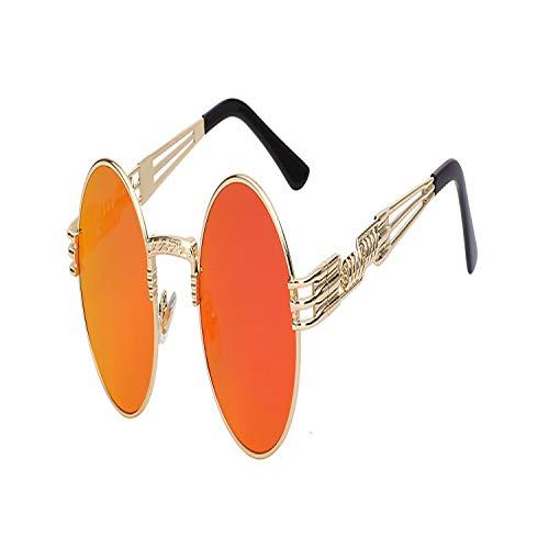 Sport-Sonnenbrillen, Vintage Sonnenbrillen, Gothic Steampunk Sunglasses Men Women Metal Wrapeyeglasses Round Shades Brand Designer Sun Glasses Spiegel High Quality UV400 Gold w fire Spiegel