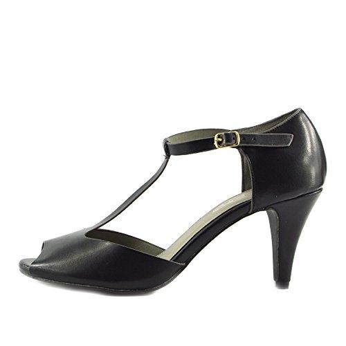 Kick Footwear - Donna Tacco A Blocco Ufficio Lavoro Formale Dolly Cinturino Nero Scarpe Nero-Grigio