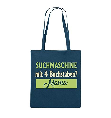 Comedy Bags - Suchmaschine mit 4 Buchstaben? Mama - Jutebeutel - lange Henkel - 38x42cm - Farbe: Schwarz / Weiss-Neongrün Navy / Beige-Hellgrün