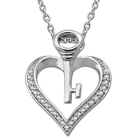 Plata de ley Clave Mi Corazón Collar con Colgante de diamante (0.08carat)