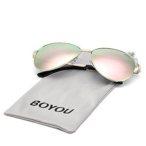 BOYOU Lunettes de lunettes de lunette anti-miroir Premium Full Mirror