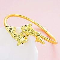 OYHBV Pulsera Pulsera Abierta De Latón Chapado En Oro Piscis Lotus Pulsera De Mujer Goldfish Lotus Pulsera, Estilo Tres