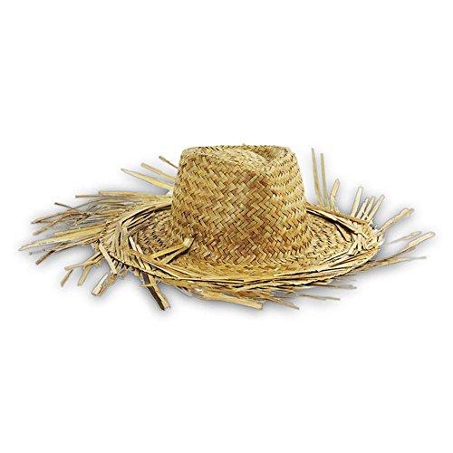 8 x paja sombrero hawaii con flecos sombrero de paja Talla única 253066b8c25