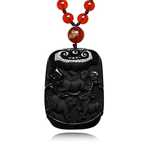 Porcs et moutons pendentif en obsidienne Scrubs lapin sanqi/ Bob l'éponge brebis collier agate rouge perles chaîne-A