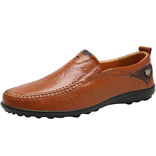 iLPM5 Herren Freizeit Business Leder Schuhe Casual Runde Zehen Erbsen Schuhe Männlichen Anzug Schuhe Outdoor Freizeit Schuhe(Braun,44)