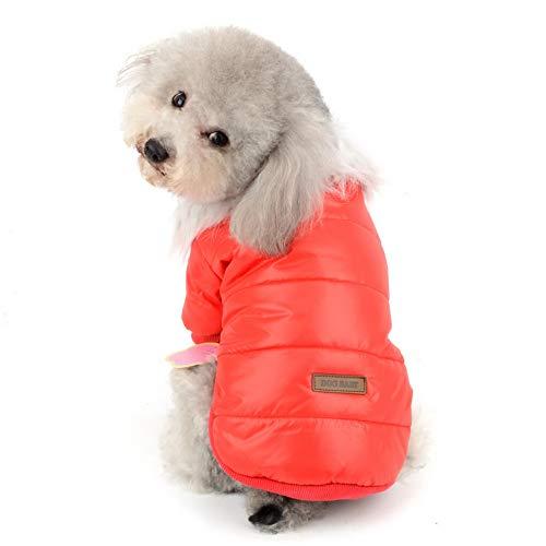 SELMAI Haustier Schneeanzug Winddicht Welpen Parka Warme Fleece Gepolsterte Winterjacke Outwear mit Fellkragen für kleine Hunde und Katzen bei kaltem Wetter Daunen Mäntel Chihuahua Yorkie Outfits Reversible Down Parka