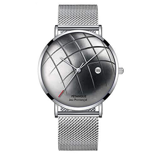Minimalistische Mode Quarz-Armbanduhr Elite Ultra Thin Wasserdichte Sportuhr mit Datum mit Mesh-Band 023.Petanque Uhr