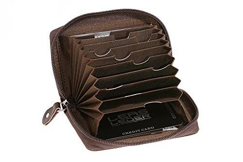 Universal Herren Portmonee RFID & Kreditkartenhülle extra kompakt mit NFC Schutz LEAS in Echt-Büffel-Leder mit Geschenk Box (braun)