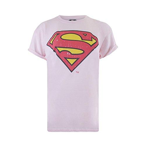 DC Comics Damen Superman Distressed T-Shirt, (Light PINK), M