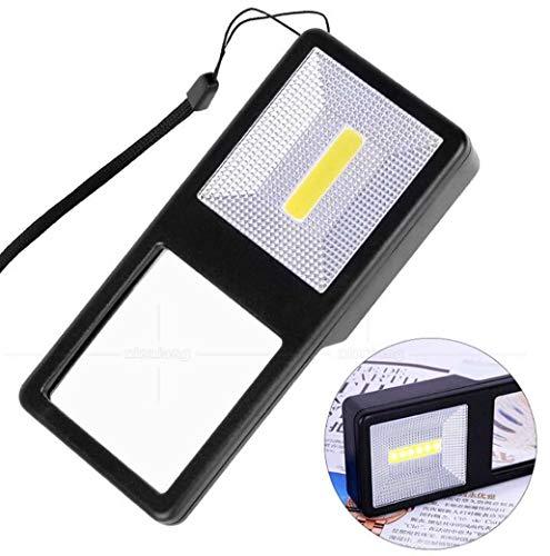 ZTYD Handheld Lupe, Handy rechteckige Taschenlampe Beleuchtung Lupe 7 LED-Leuchten tragbar, Sammlung Geschenk, Kunsthandwerk, Münzen, Insekten, Felsen, Karte,Black