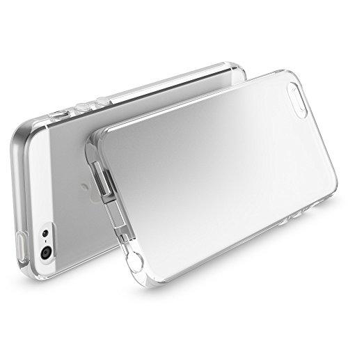 Apple iPhone SE 5 5S Coque Protection de NICA, Housse Silicone Portable Mince Souple, TPU Tele-phone Case Cover Premium Incassable Ultra-Fine Resistante Gel Slim Bumper Etui - Mat Noir Transparent Blanc