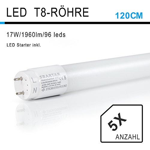 [5er PACK zum Sparpreis] SBARTAR LED Leuchtstoffröhre 120cm Kaltweiß 6500K 17W - Neonröhre 36 Watt - Ersatz für T8 Rasterleuchte Bürolampe Deckenleuchte / Leuchtstofflampe - 1960lm - inkl. Starter - 270° Abstrahlwinkel