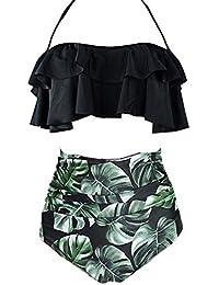 c9e29af35e AOQUSSQOA Women Swimsuit High Waist Flounce Bikini Set Halter Ladies  Swimming Costume Beach Bathing Swimwear