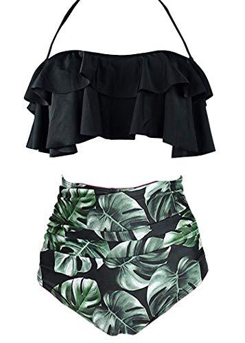 AOQUSSQOA Damen Badeanzug Rüschen Hals Hängen Bikini Sets Zweiteilige Bademode mit Hoher Taille Strandkleidung (EU 38-40 (M),Schwarzes Blatt) -